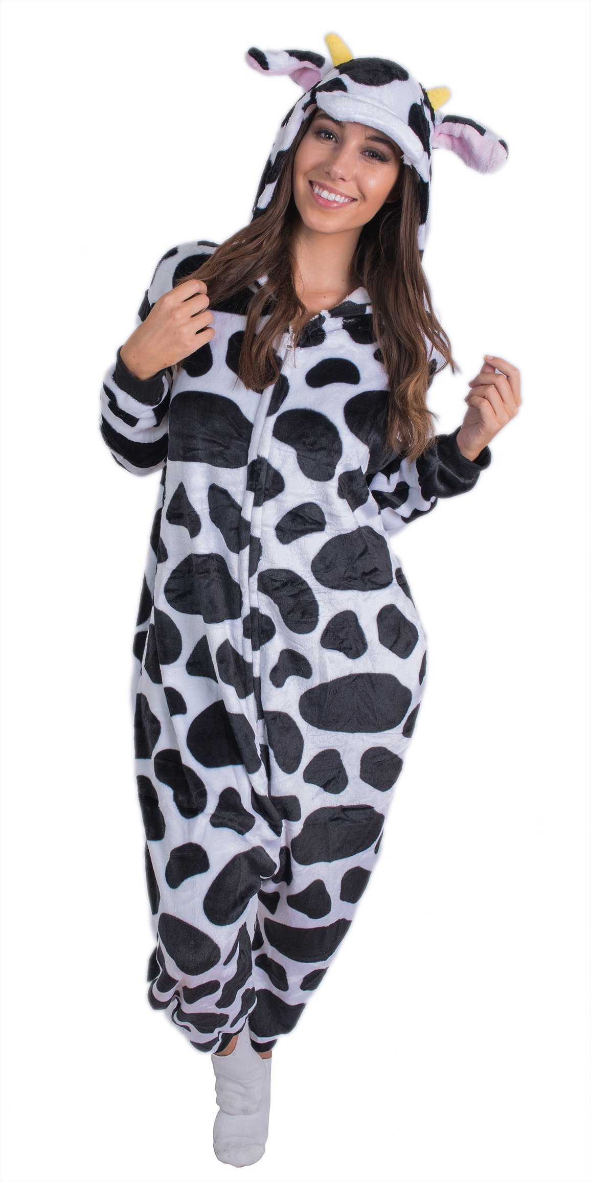 Adult Onesie Cow Animal Pajamas Comfortable Costume with Zipper and Pockets (Small)