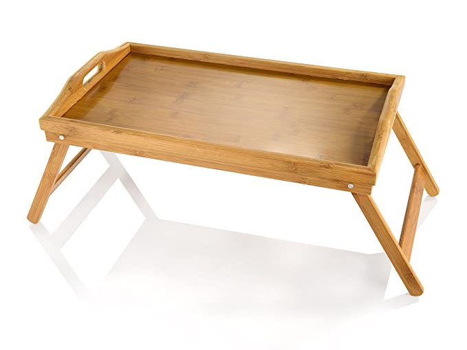 Folding Laptop Bed Tray Wooden Breakfast Serving Tray Table: Amazon.es: Hogar