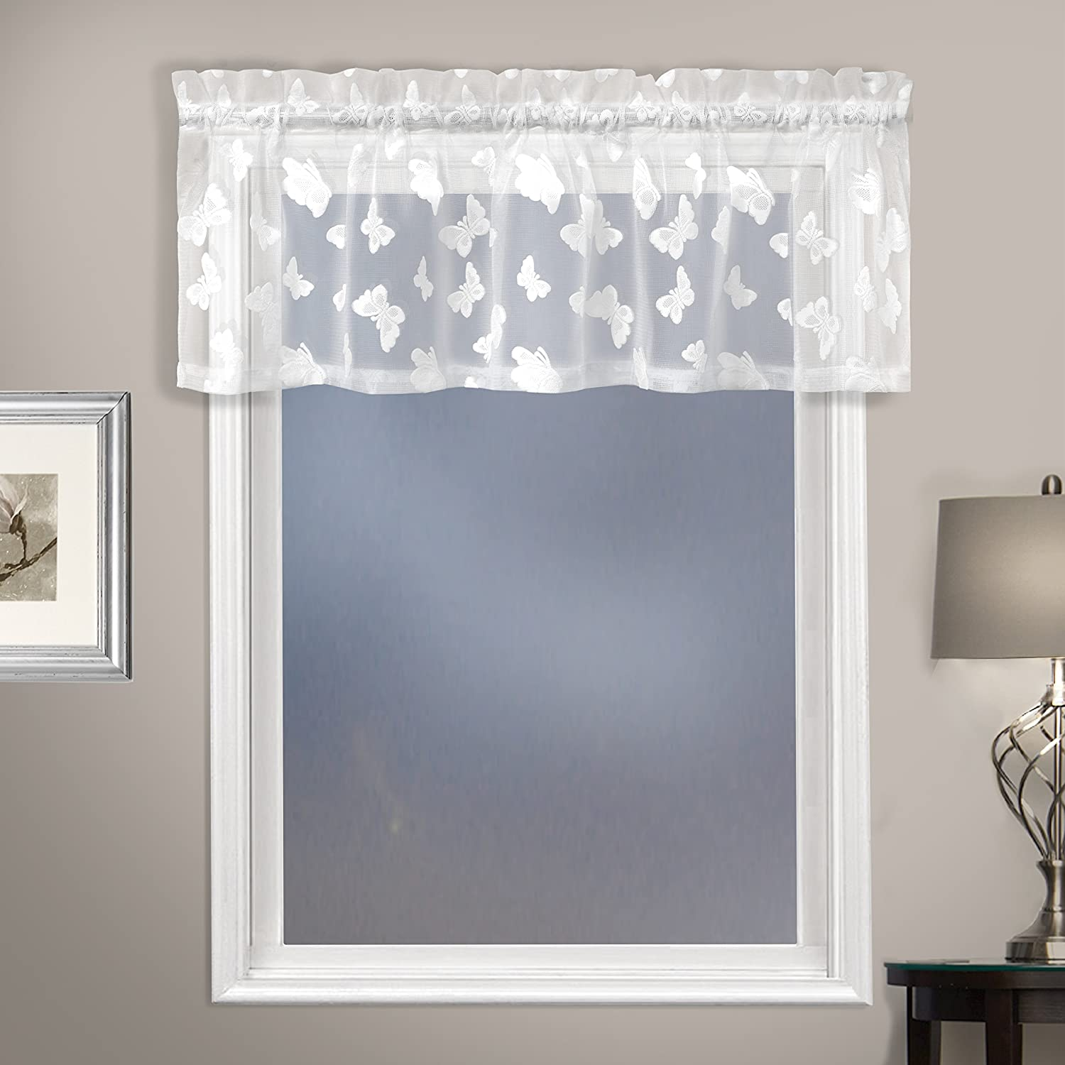 United Curtain Madame Window Curtain Valance, 52 x 14, White 52 x 14 United Curtain Co. MADMVAWH