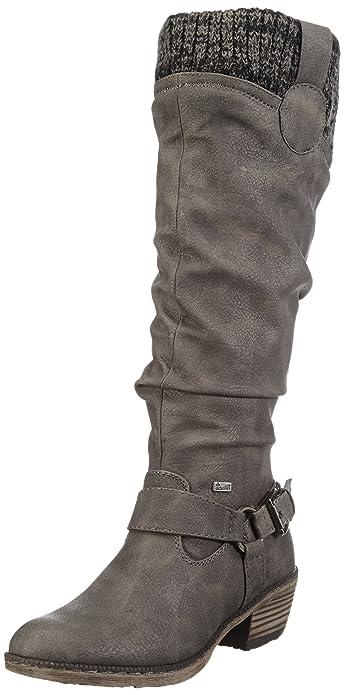 93756-42 Botas de vaquero Mujer, Gris (cenere/black-grey/42), 41 EU Rieker