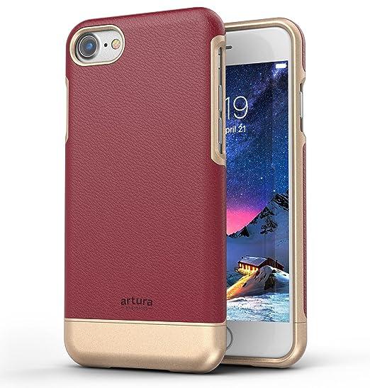 new concept 850b9 74eb2 Encased Artura iPhone 8 Premium Vegan Leather Case - Leather Phone Case  Collection (Mulberry/Gold)