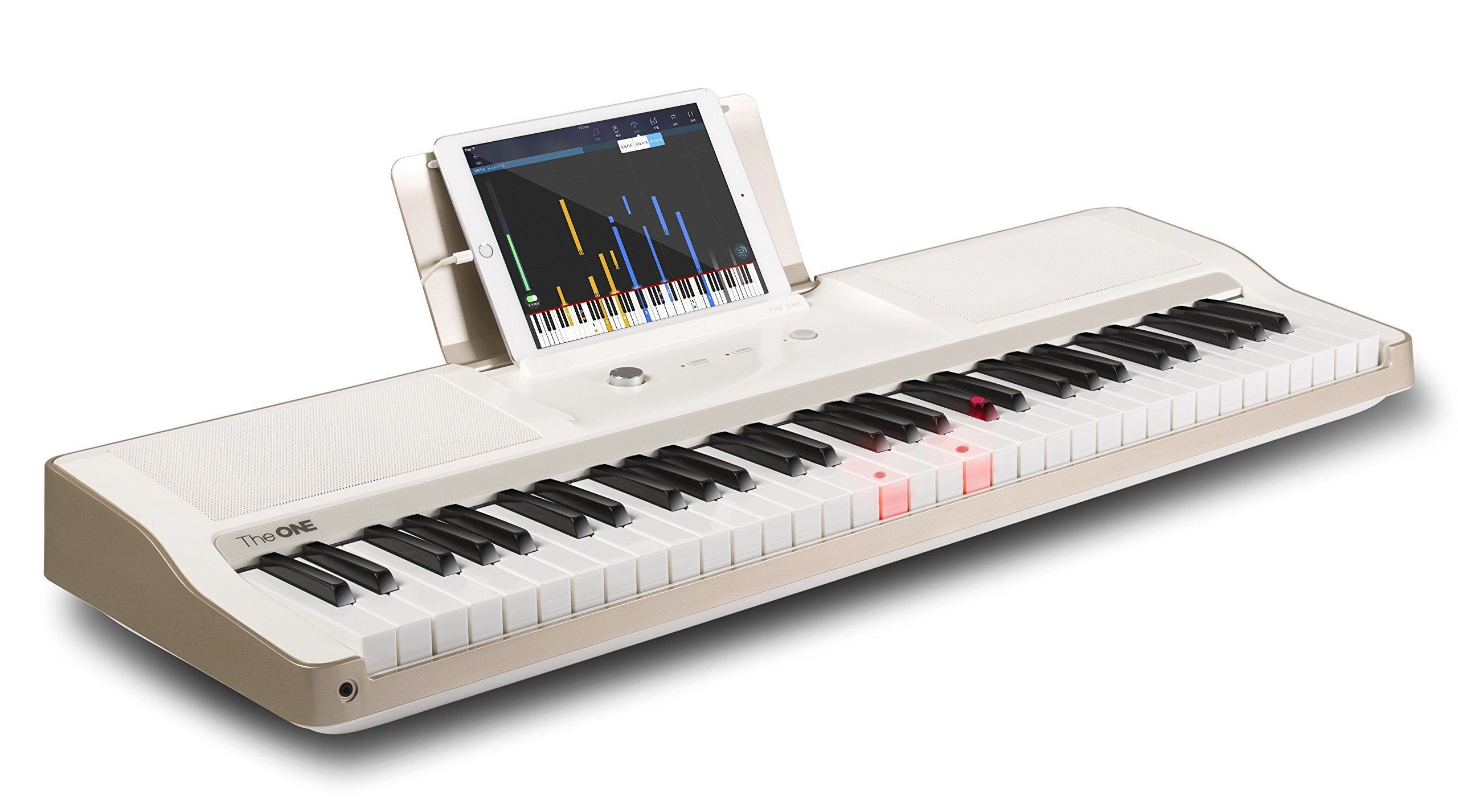The ONE Smart Piano Keyboard, 61-Key Portable Keyboard, The ONE Light Keyboard, Electric MIDI Keyboard, Golden-White
