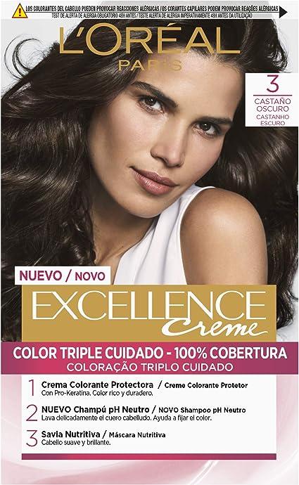 LOréal Paris Excellence Coloración Crème Triple Protección, Tono: 3 Castaño Oscuro