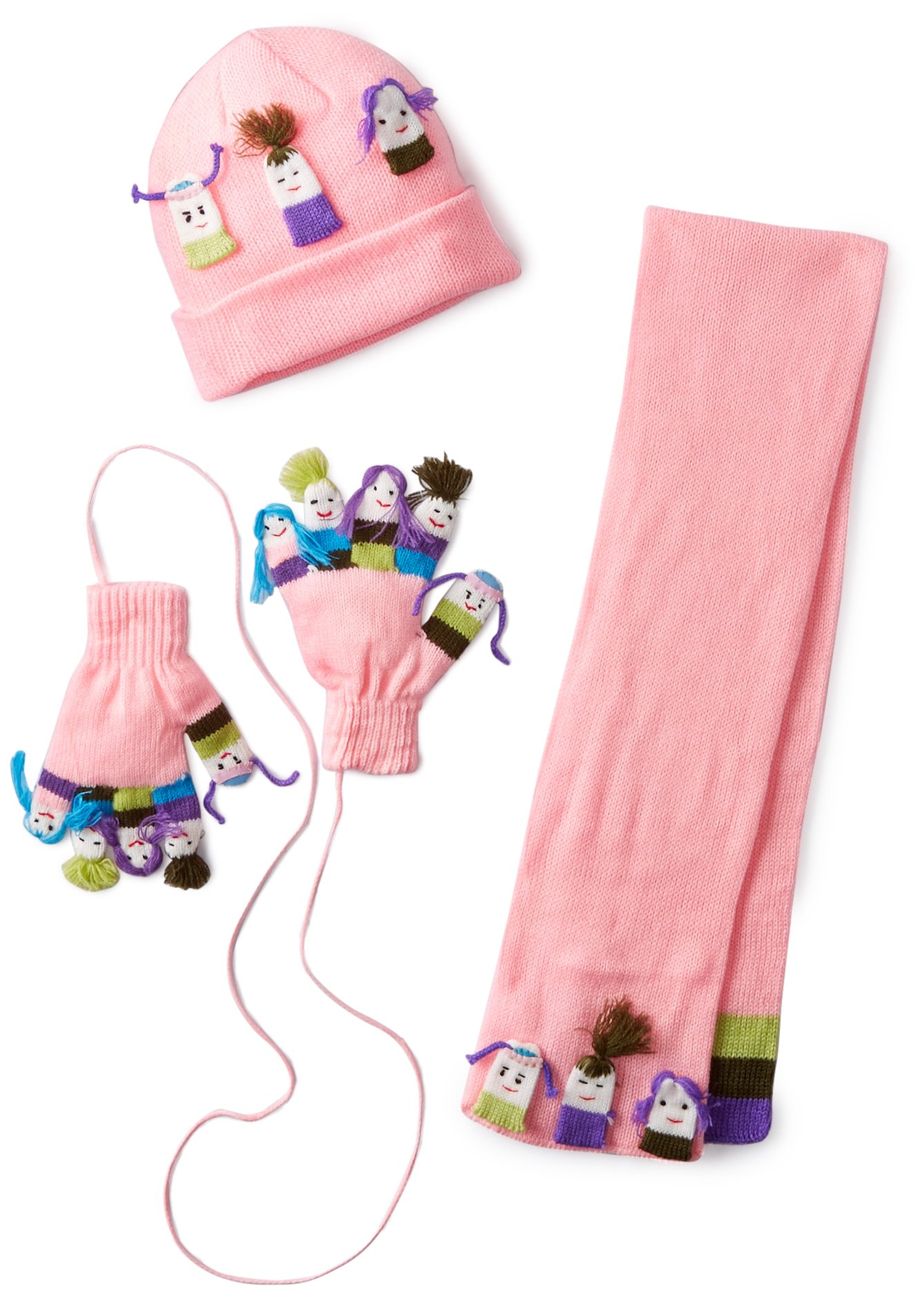Kidorable Pink Girls Soft Knit Hat/Scarf/Glove Set for Girls w/5 Fun Unique Puppet Faces, Ages 6-8