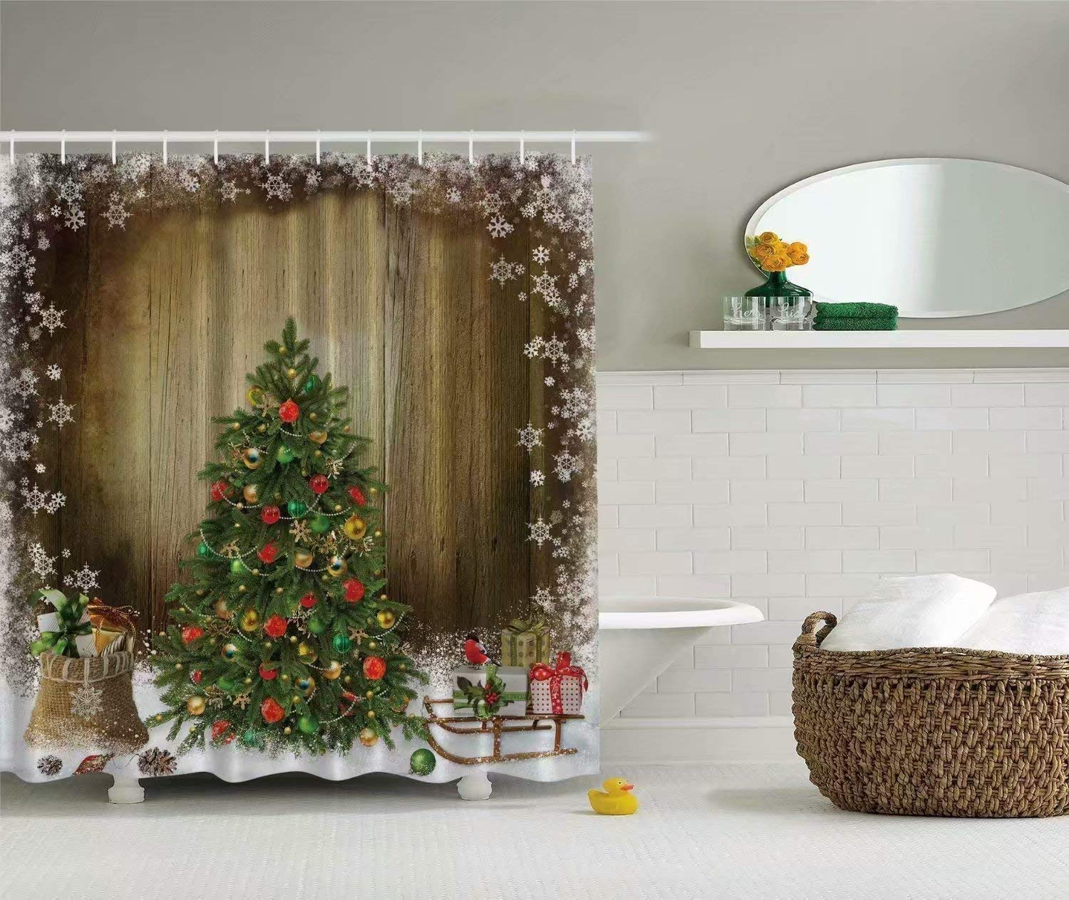 KANATSIU Christmas Tree Holiday Presents Vintage Style Shower Curtain 12 plactic Hooks,100% Made Polyester,Mildew Resistant & Machine Washable,Width x Height is 72X72