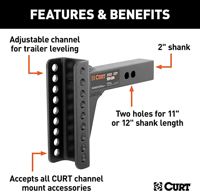 CURT 45917 Replacement Adjustable Trailer Hitch Ball Mount Shank Fits 2-1//2-Inch Receiver