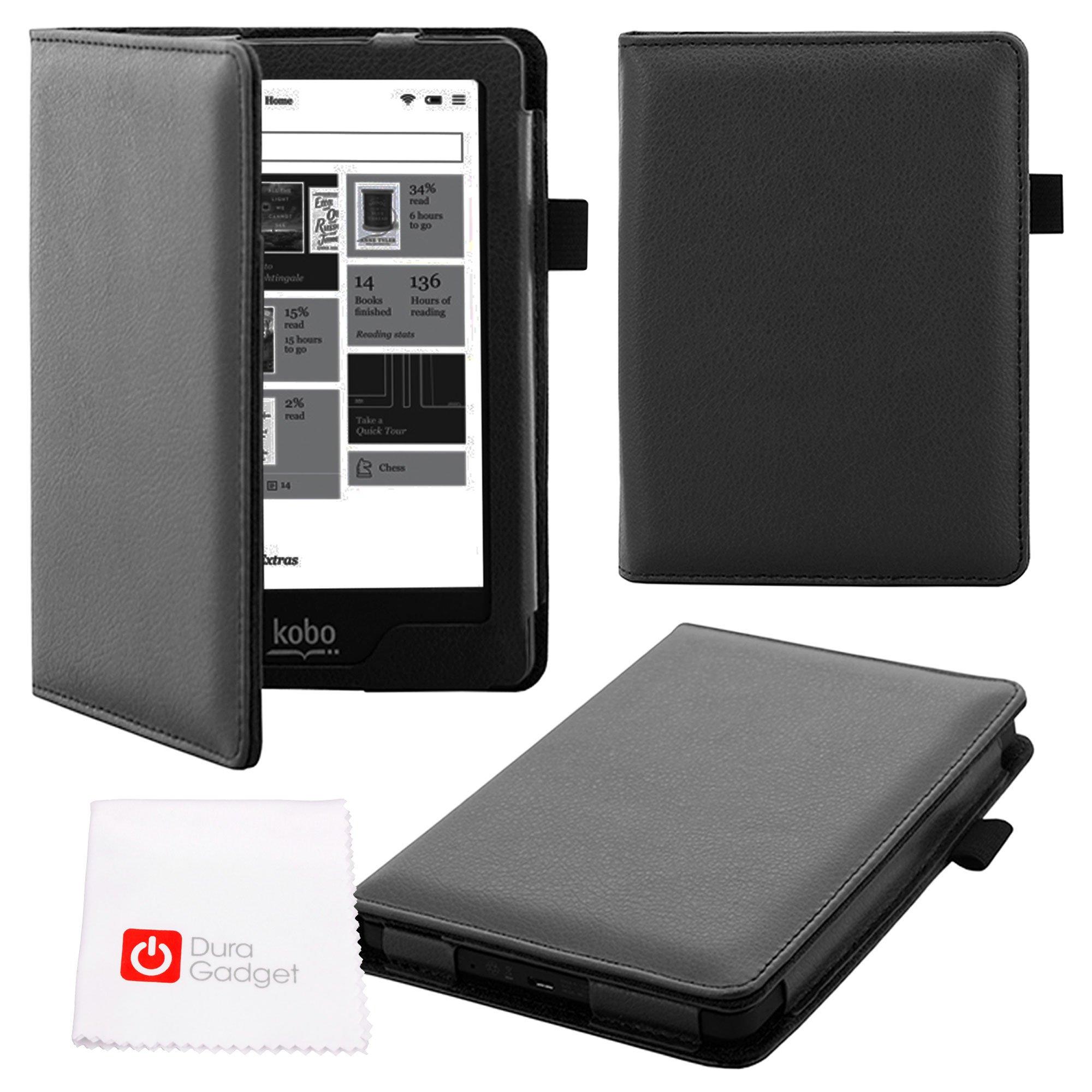 DURAGADGET Deluxe Kobo Glo HD Custom eReader Case - Sleek Magnetic 'Book-Style' Faux Leather Custom Case / Cover in Black Designed for NEW 2015 Kobo Glo HD, Kobo Glo, Kobo Touch 2.0 & Kobo N613-KBO-B eReader GLO Edition