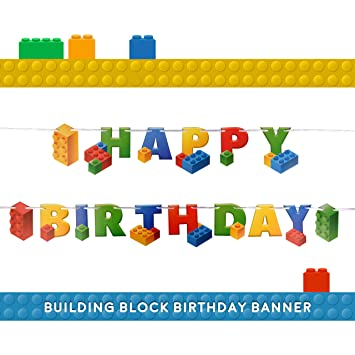 Building Block Birthday Party Supplies Banner By Aliza