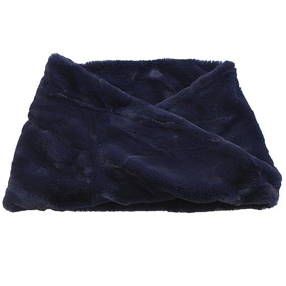 FERETI Écharpe Ronde Femmes Laine Lapin Bleu En Fourrure Mohair Teddy Tube  Châle Snood 65511abcd42