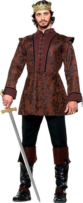 Mens Short Brown Fur Shoulder Medieval King Fancy Dress Costume Outfit Cape