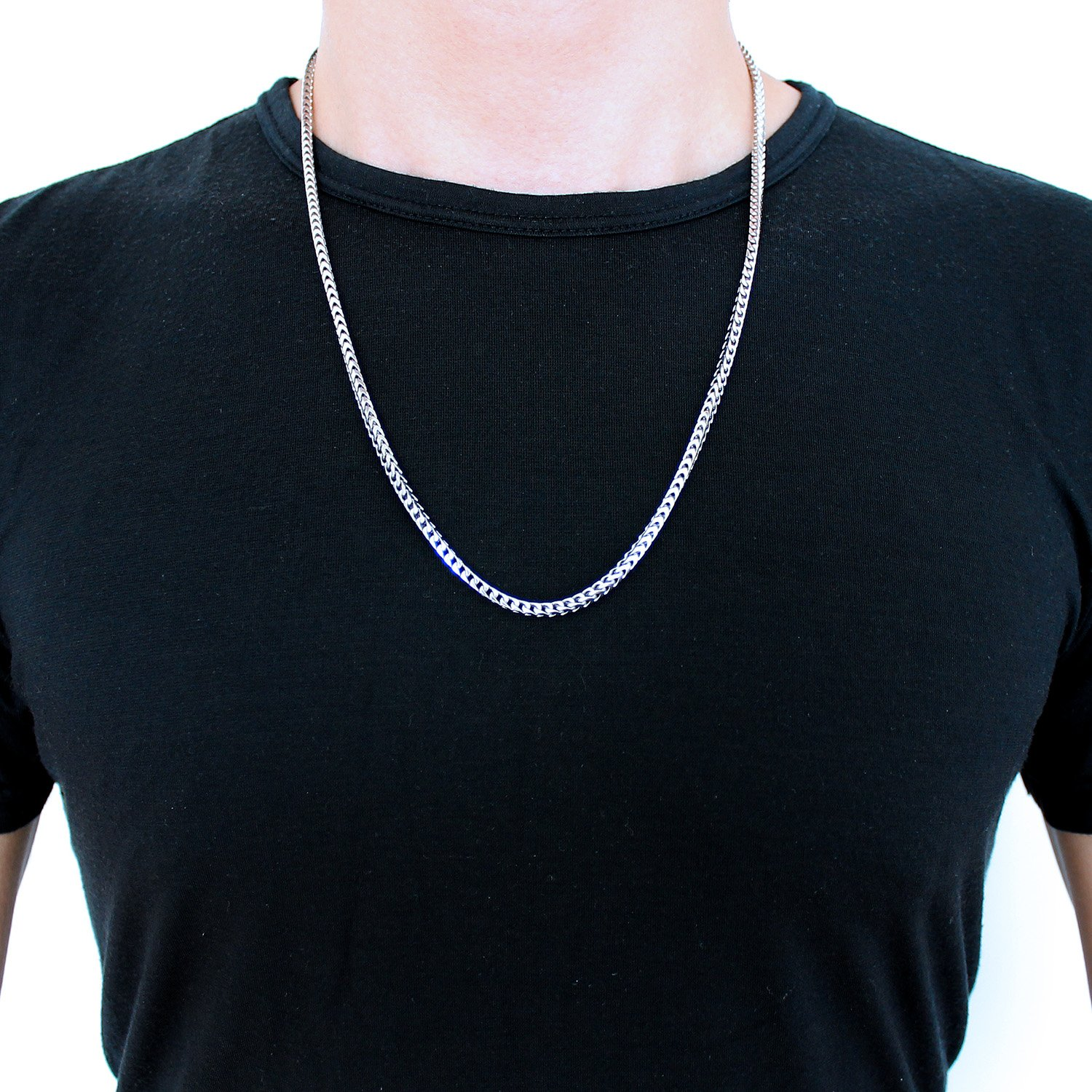 Men's Solid Sterling Silver Rhodium Plated 3mm Comfort Franco Chain Necklace, 24'' by Beauniq (Image #2)