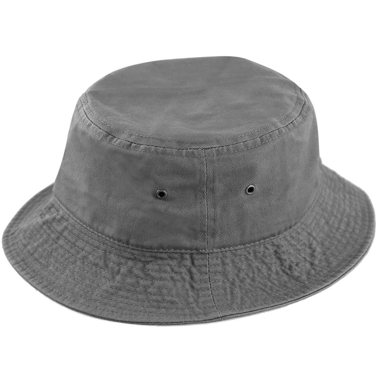 ROWILUX Washed Cotton Unisex Bucket Hat Packable Summer Travel Outdoor Fishing Cap Sun Bucket