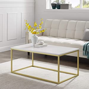 Walker Edison Modern Marble and Metal Frame Open Rectangle Coffee Accent Living Room Ottoman Table, 42 Inch, Marble & Gold