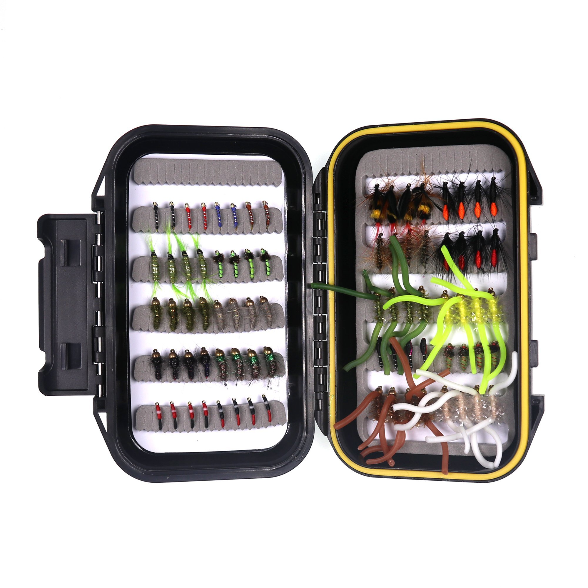 wifreo Fly Fishing Fly Kit Fly Fishing Lure Dry Wet Nymph Streamer Scud Beahead Stonefly with Waterproof Fly Box (80 PCS Fly Kit + Waterproof Fly Box)