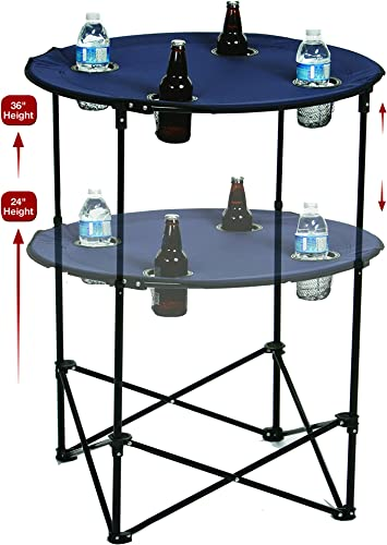 Picnic Plus Portable Round Tailgate Table Extends from 24″ to 36″