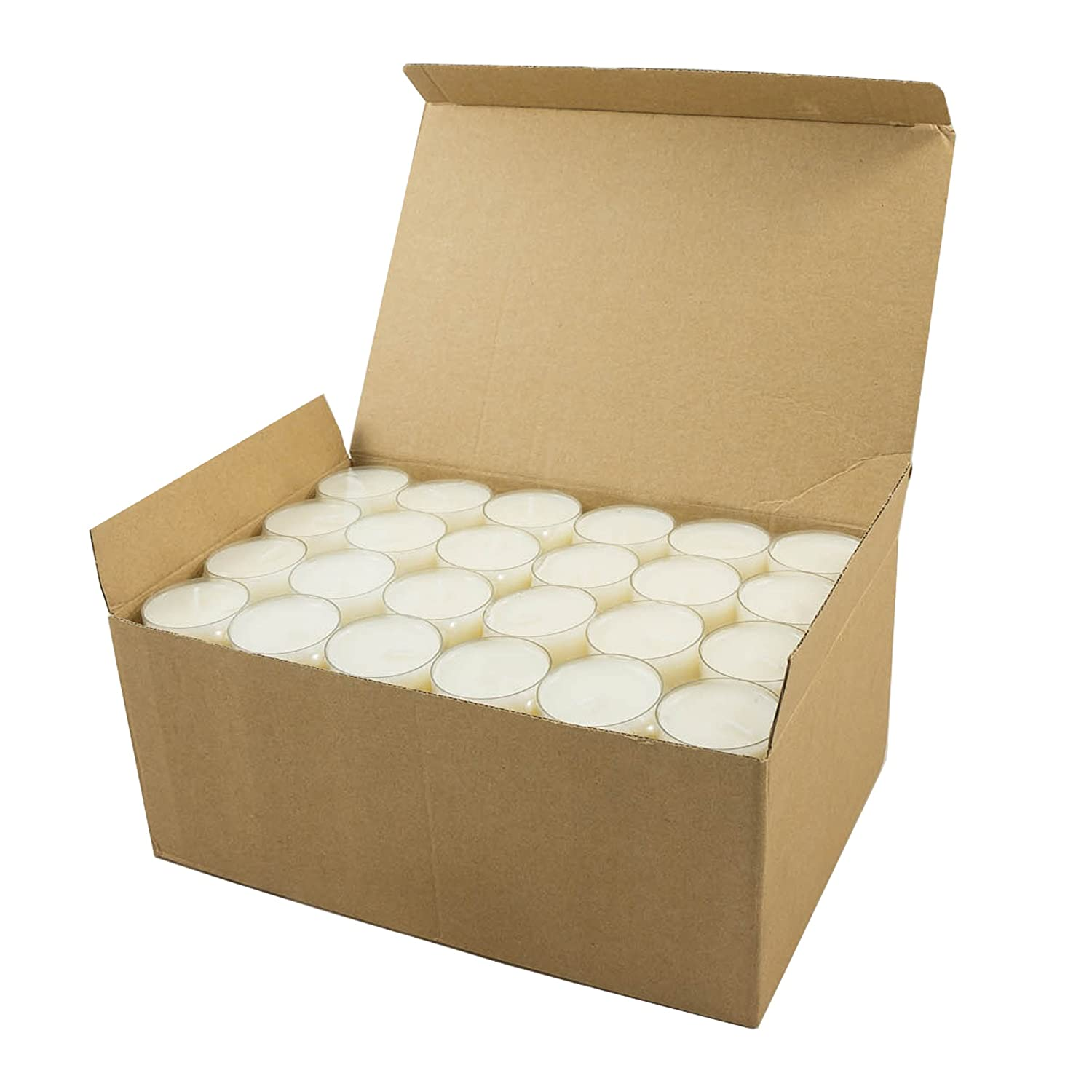 Stonebriar Unscented Long Burning Clear Cup Tea Light Candles, 6 to 7 Hour Extended Burn Time, White, Bulk 96 Pack