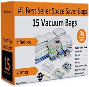 Home-Complete Vacuum Storage Bags- 15 Multi Size Space Saving Air Tight Compression Organizers for Closet Clutter, Clothes, Linens- Pump Included (Renewed)