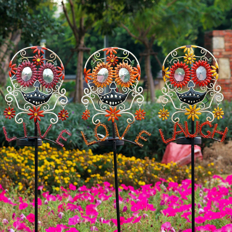 "Happyhobby Garden Solar Lights Outdoor Set 3 Metal Sugar Skull Live Love Laugh Decorative Stakes Lights,Waterproof Color Changing LED Landscape Lights Decoration,40"" High (3 Pack)"