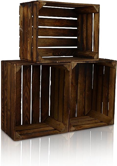 Chiccie - Lote de 3 cajas de madera con aspecto vintage - Caja `para frutas / vino con aspecto usado: Amazon.es: Hogar