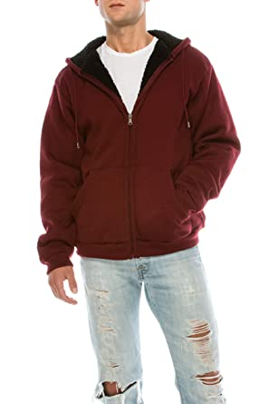 20e2ae0e7 KlothesKnit Men's Heavyweight Full Zip Brushed Fleece Sherpa Lined Hoodie  Sweatshirt Jacket in Burgundy, Large at Amazon Men's Clothing store: