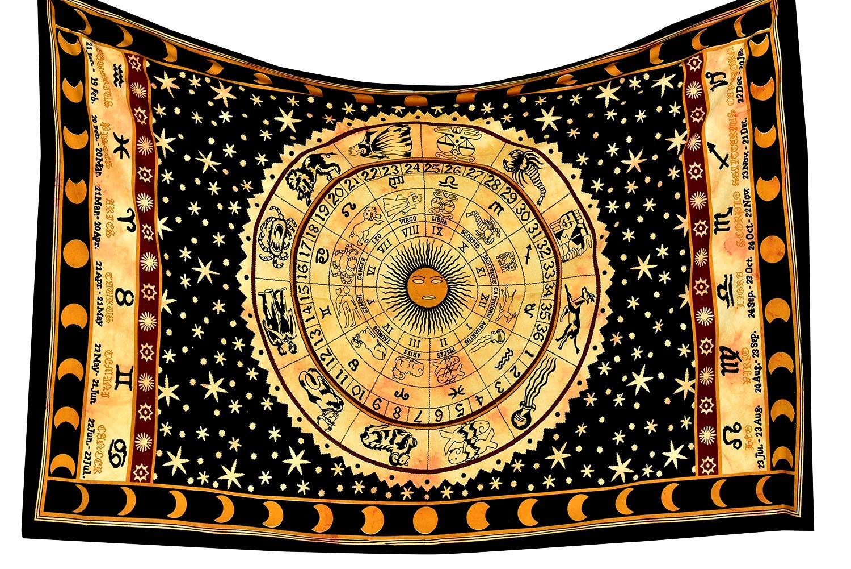 Amazon.com: Tapestry Black Zodiac Horoscope Indian Astrology Hippie ...