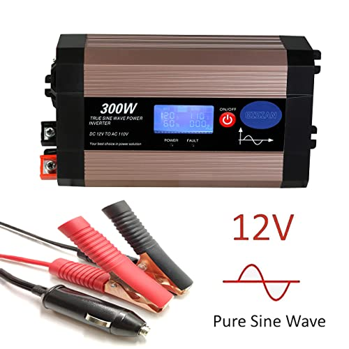 GISIAN 300Watt Pure Sine Wave Power Inverter 12V DC to 110V AC with LCD Display, Dual USB Ports and 2 AC Outlets, Perfect for Smartphones Laptops Tablets