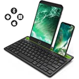 Bluetooth keyboard, Jelly Comb BK230 Dual Channel Multi-device Universal Wireless Bluetooth Rechargeable Keyboard with Sturdy Stand for Tablet Smartphone PC Windows Android iOS Mac(Black and Green)