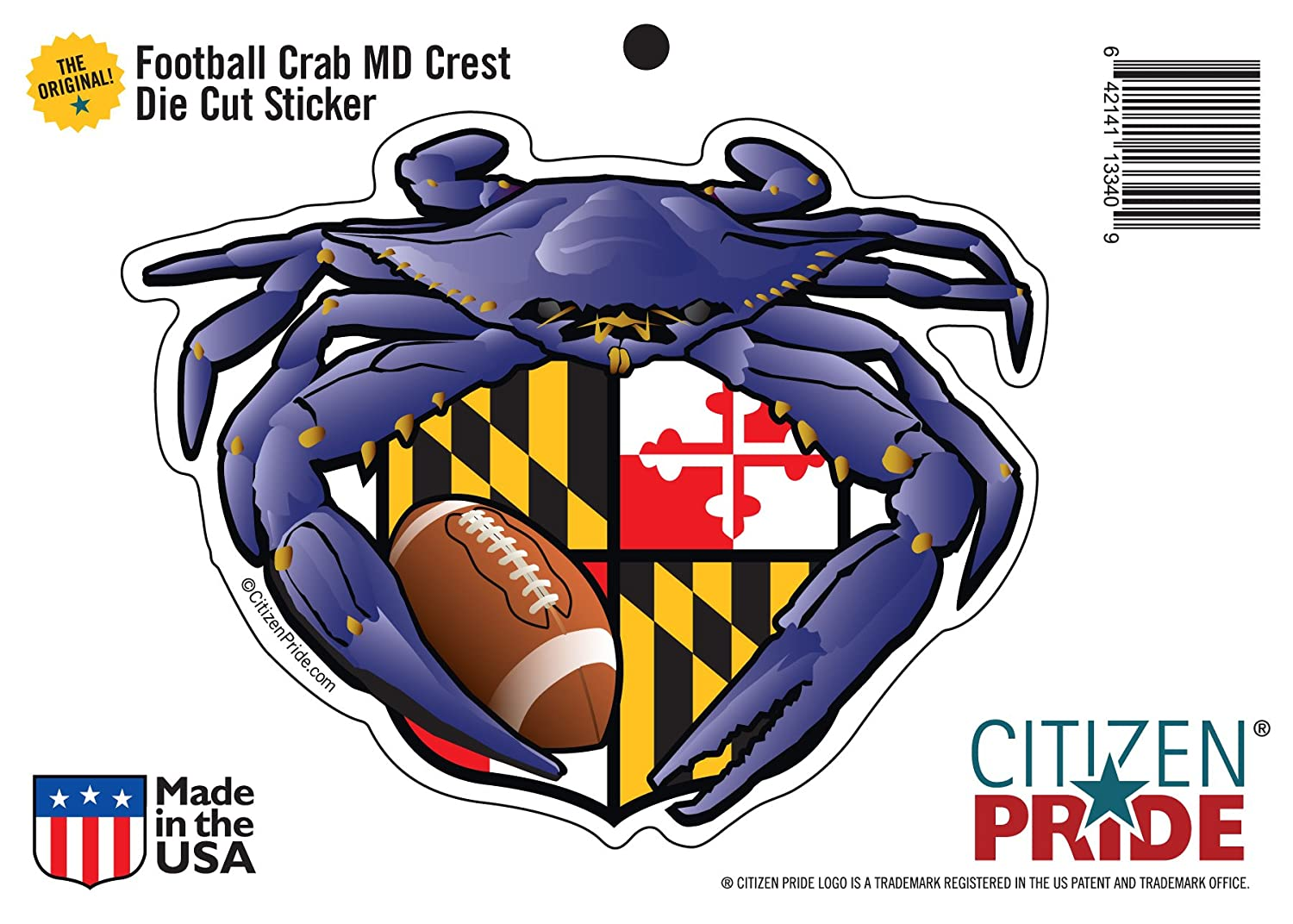 Amazon com citizen pride raven crab football maryland crest 5x4 inches sticker decal die cut vinyl made in usa sports outdoors