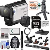 Sony Action Cam FDR-X3000R Wi-Fi GPS 4K HD Video Camera Camcorder & Live View Remote + Shooting Grip Tripod + Action Mounts + 64GB Card + Battery + Backpack Kit