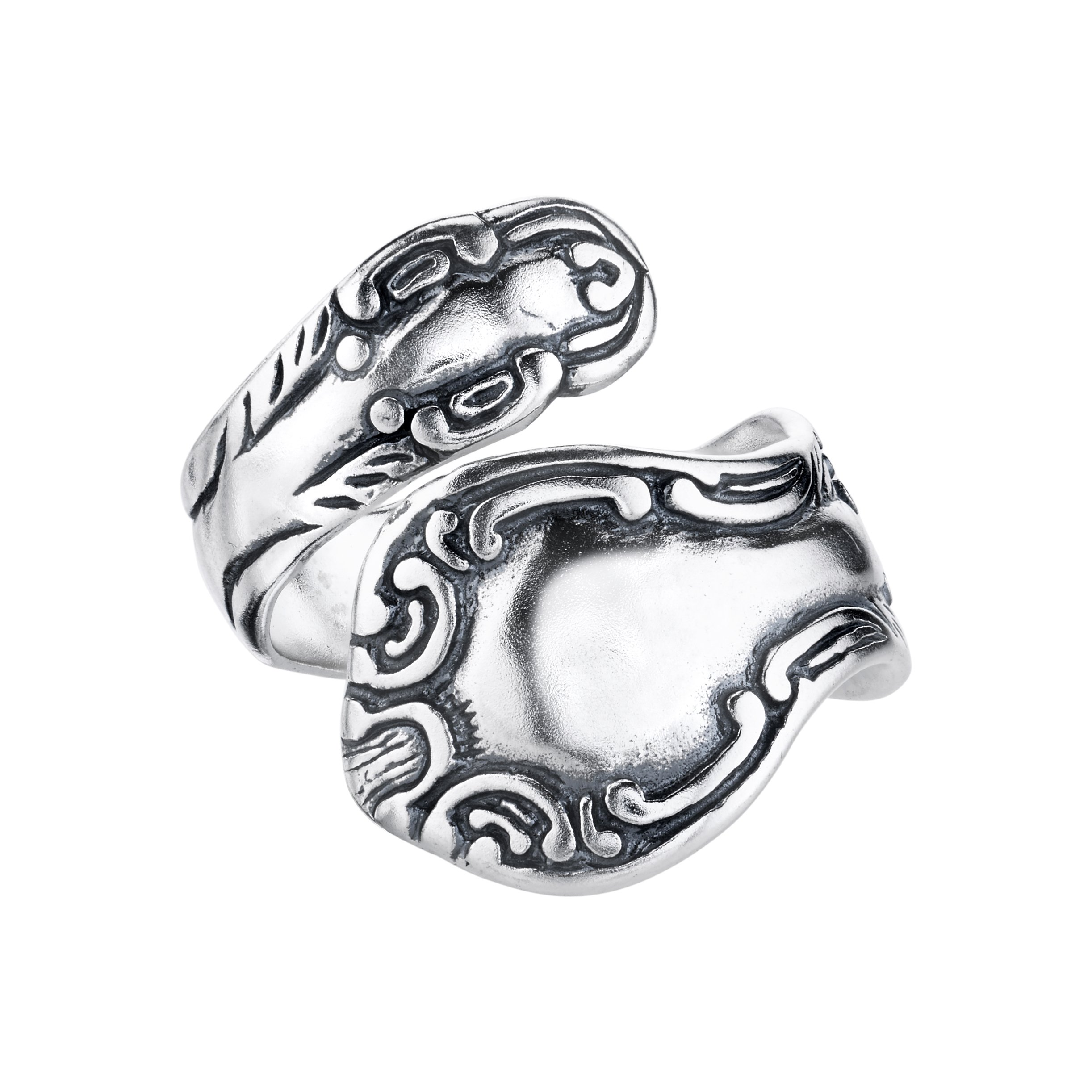 BSE Sterling Silver Swirl Motif Spoon Style Ring, Sizes 6-11 by BSE