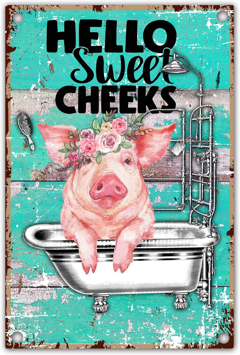 vizuzi Funny Bathroom Quote Metal Tin Sign Wall Decor, Vintage Hello Sweet Cheeks Pig Tin Sign for Office/Home/Classroom Bathroom Decor Gifts - Best Farmhouse Decor Gift Ideas for Friends