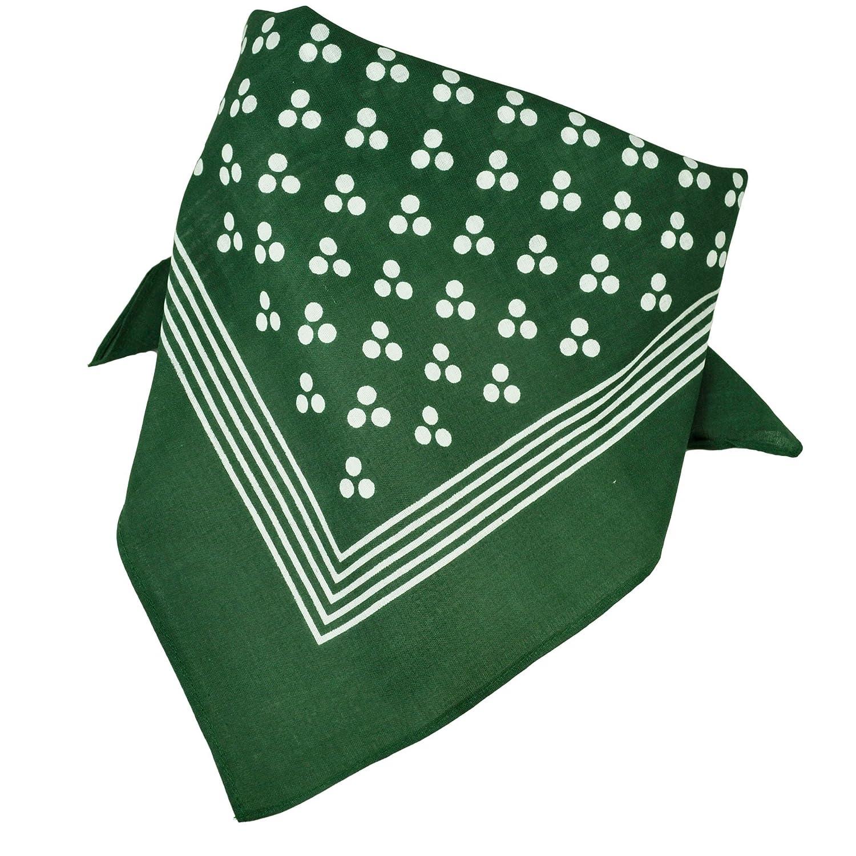 Green With White 3-Dot & Stripes Bandana Neckerchief