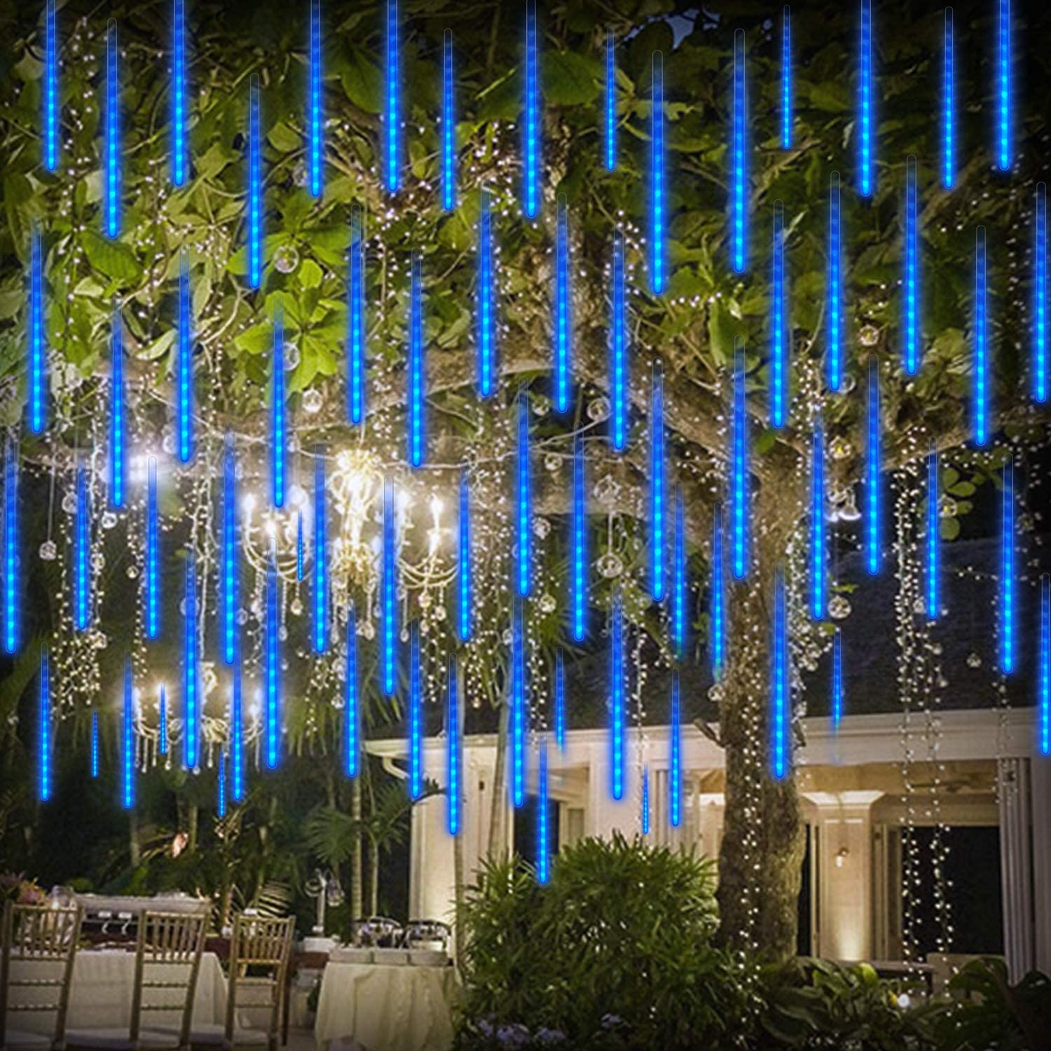 Meteor Shower Rain Lights LED Christmas Light 192 LEDs 11.8 inch 8 Tubes Waterproof Drop Icicle Snow Falling Raindrop Cascading Lights for Party Wedding Garden Christmas Tree Decoration, Blue