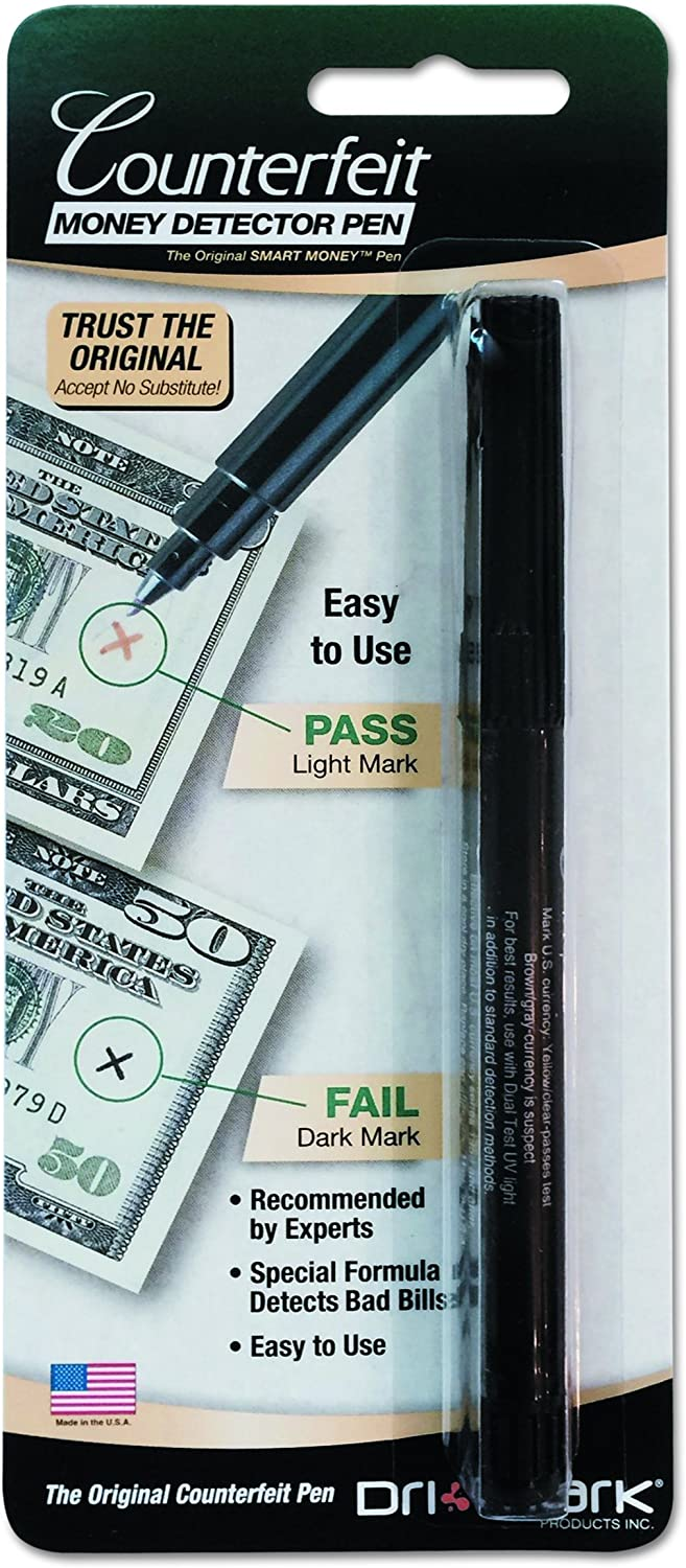 Dri-Mark 351B1 Smart Money Counterfeit Bill Detector Pen for Use w/U.S. Currency