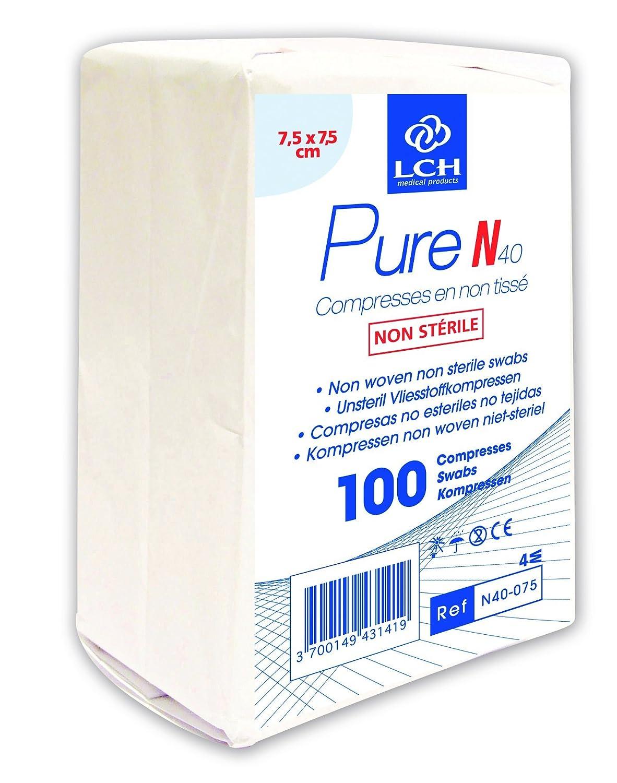 LCH N40-075, Compresas No Esteriles, No Tejidas, 7.5 x 7.5 cm, 100 Unidades: Amazon.es: Salud y cuidado personal