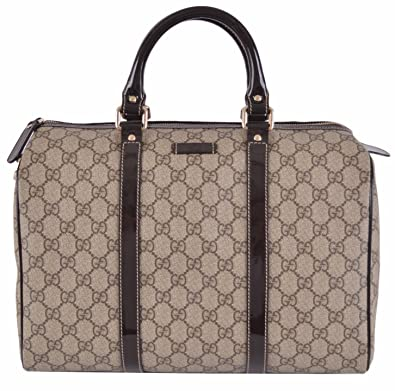 Amazon.com  Gucci Women s Beige Brown GG Supreme Canvas Boston Purse ... 6e4fcdf434c3f