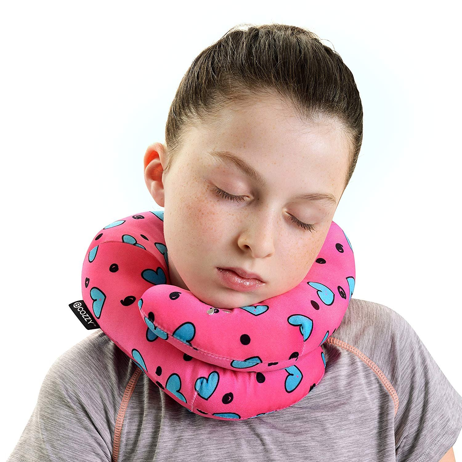BCOZZY Kids Chin Supporting Travel Neck Pillow - Supports The Head, Neck Chin in in Any Sitting Position. A Patented Product. Child Size, Turquoise Hearts by BCOZZY (Image #2)