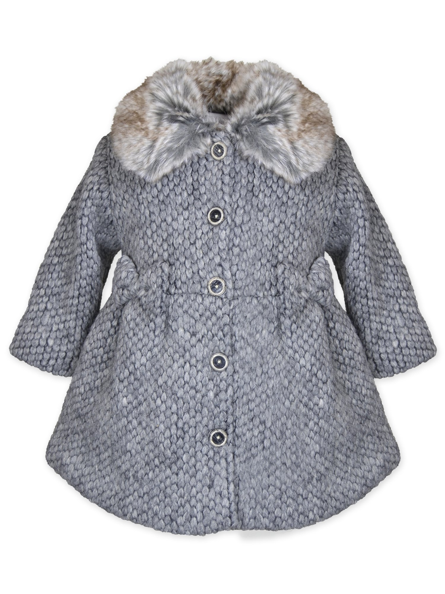 Widgeon Little Girl's Faux Fur Collar Sweater Coat 3730 Outerwear, WSG/Grey Sweater, 6X