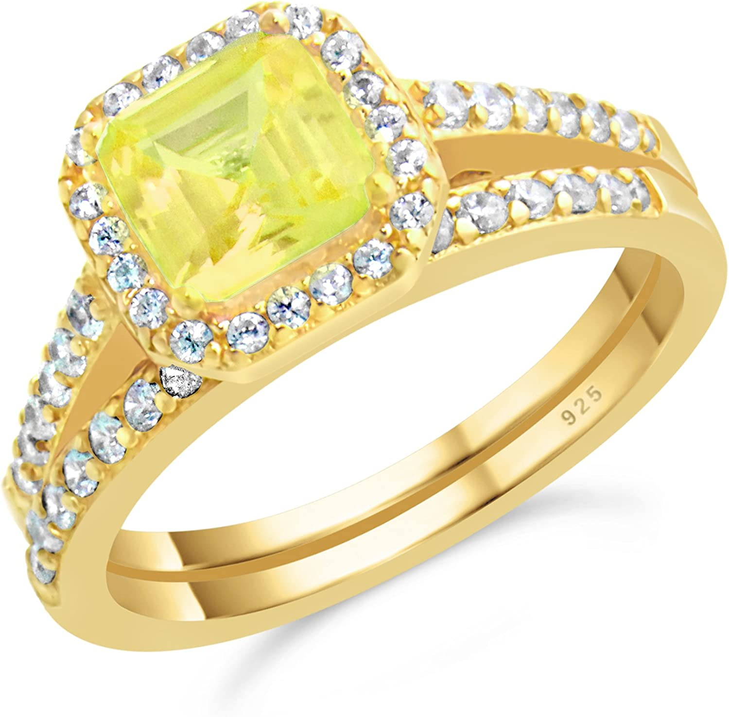 14K Yellow Gold Plated Solid Sterling Silver Fashion Ring with Cubic Zirconia Accent-Size 6.5 JANL