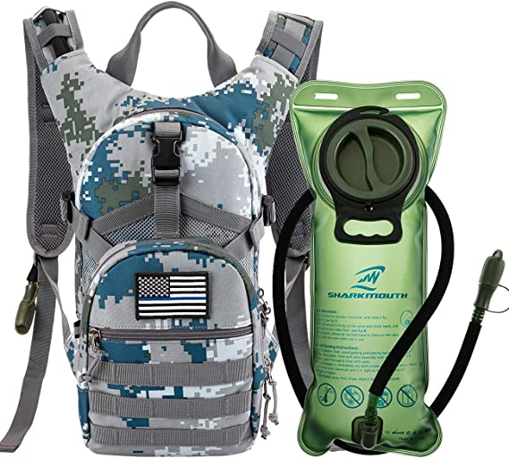 SHARKMOUTH Tactical MOLLE Hydration Pack Backpack 900D with 2L Leak-Proof Water Bladder, Keep Liquids Cool for Cycling