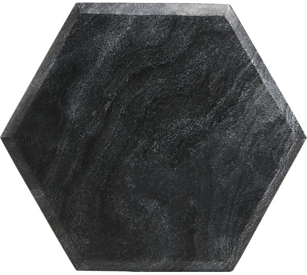 "hex 12""x12"" black marble board | CB2"