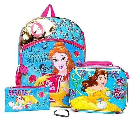 Disney Bella y la Bestia Belle Conjunto de mochila escolar de 4 piezas - Ni?os: Amazon.es: Ropa y accesorios