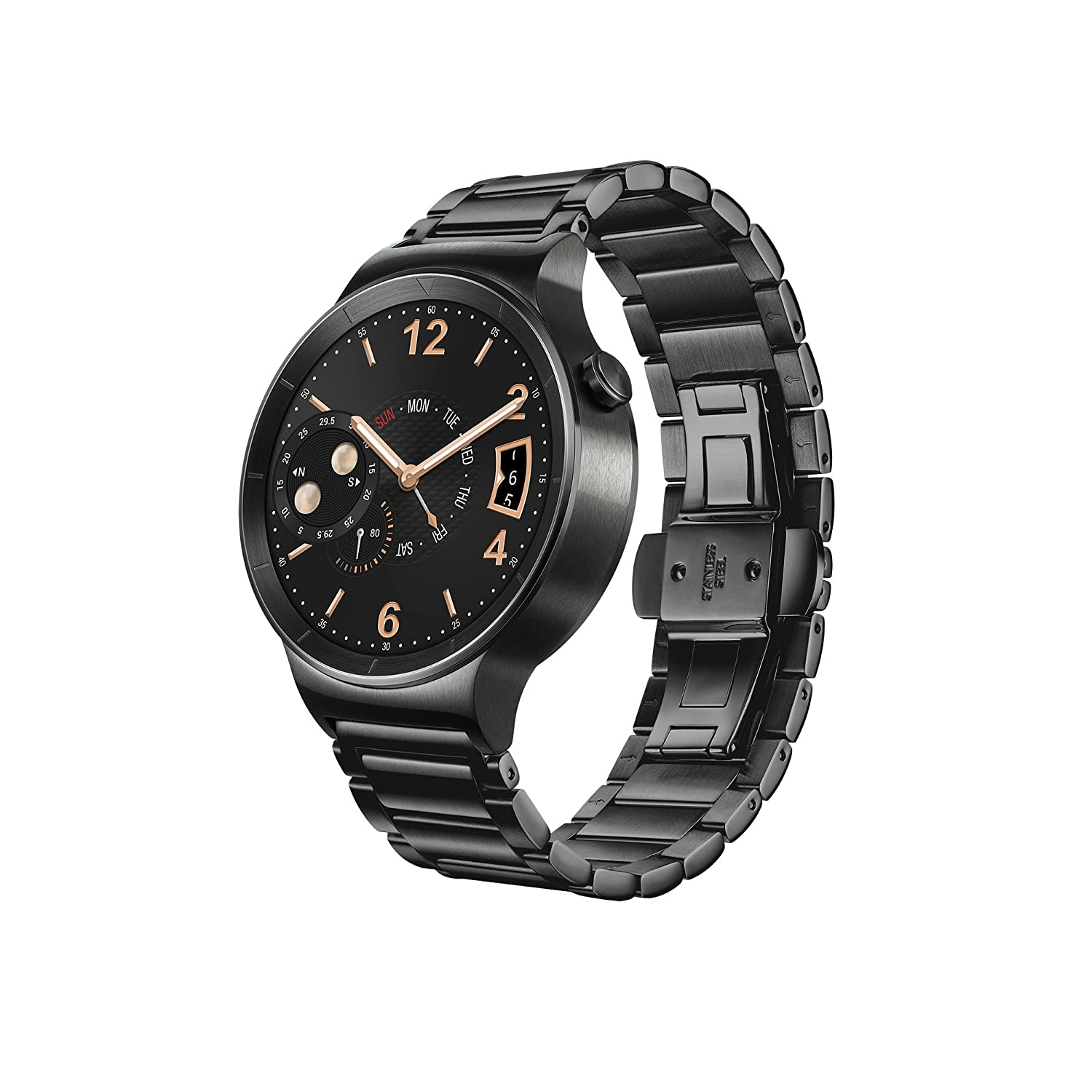 huawei w1. huawei w1 active smartwatch with plated stainless steel strap - black: amazon.co.uk: electronics