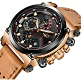LIGE Mens Fashion Sport Quartz Watch with Brown Leather Strap Chronograph Waterproof Auto Date Analog Black