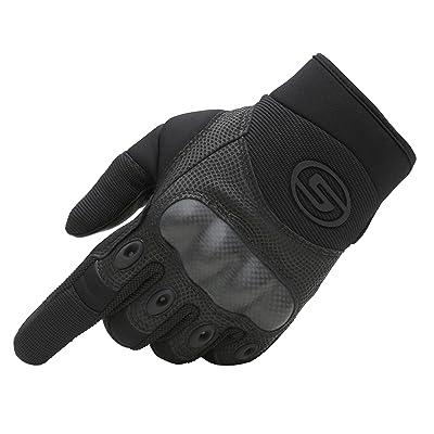 Seibertron Carbon Fiber Hard Knuckle Sheepskin Palm Motorcycle Gloves Black M: Automotive