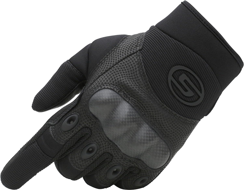 Seibertron Carbon Fiber Hard Knuckle Sheepskin Palm Motorcycle Gloves Black XL