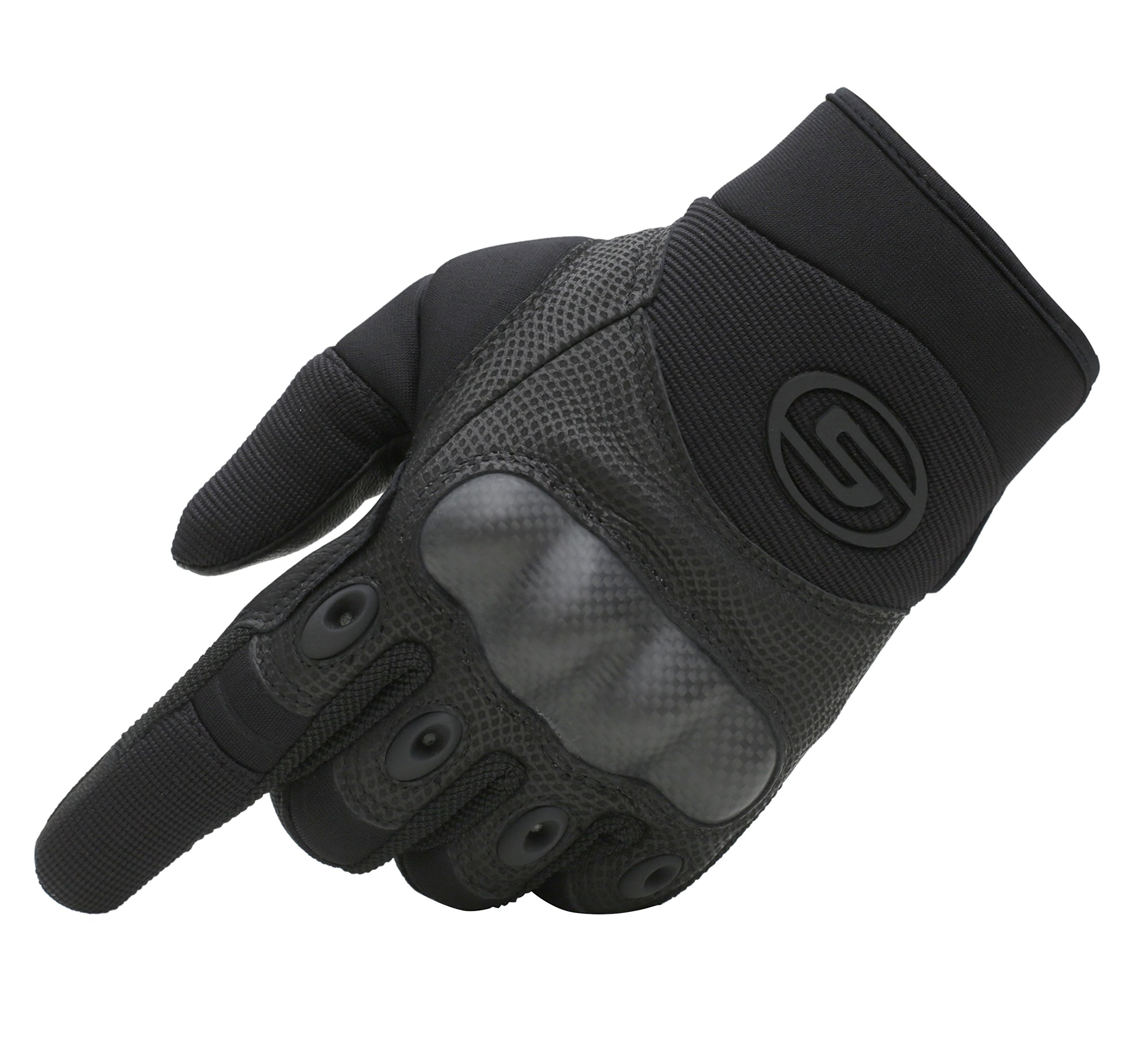 Seibertron Men's Hard Knuckle Military Leather Palm Carbon Fiber Glove Outdoor Sports Tactical Airsoft Hunting Cycling Bike Motorcycle MTB Gloves Black M