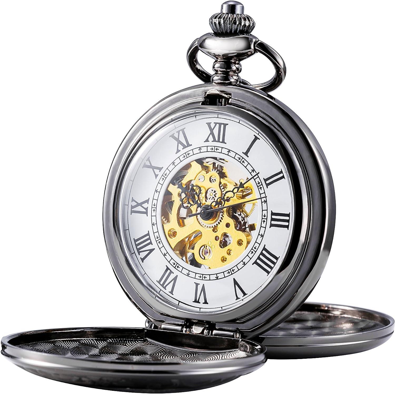 Treeweto - Reloj de bolsillo mecánico para hombre, números romanos, estilo retro, mitad cazador, bronce