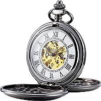 TREEWETO Mens Skeleton Mechanical Pocket Watch, Retro Roman Numerals, Half Hunter, Black
