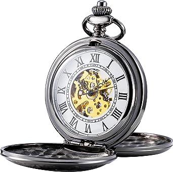 Treeweto - Reloj de bolsillo mecánico para hombre, números romanos, estilo retro, mitad cazador, bronce: Amazon.es: Relojes